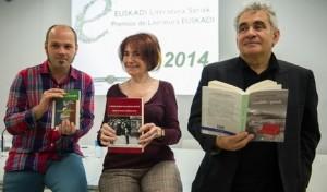 Euskal Literatura Sariak 2014. Iñigo Roque, Idoia Estornés eta Bernardo Atxaga