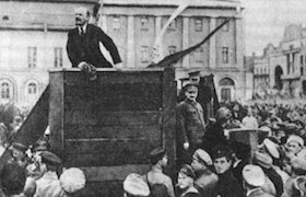 <p>Original photo of Lenin in 1920 which includes Leon Trotsky, prior to Stalin ordering Trotsky be removed.</p>
