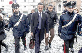 5-Star Movement  M5S  leader Luigi Di Maio  center  leaves the Senate following a meeting with the newly elected senators of his party  in Rome Monday  March 19  2018   Giuseppe Lami ANSA via AP